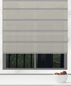 Chalk Light Filtering Plantation Roman Blind